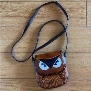 Owl Leather Cross Bag